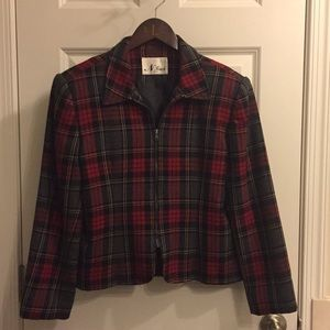 90s Vintage Wool Plaid Blazer